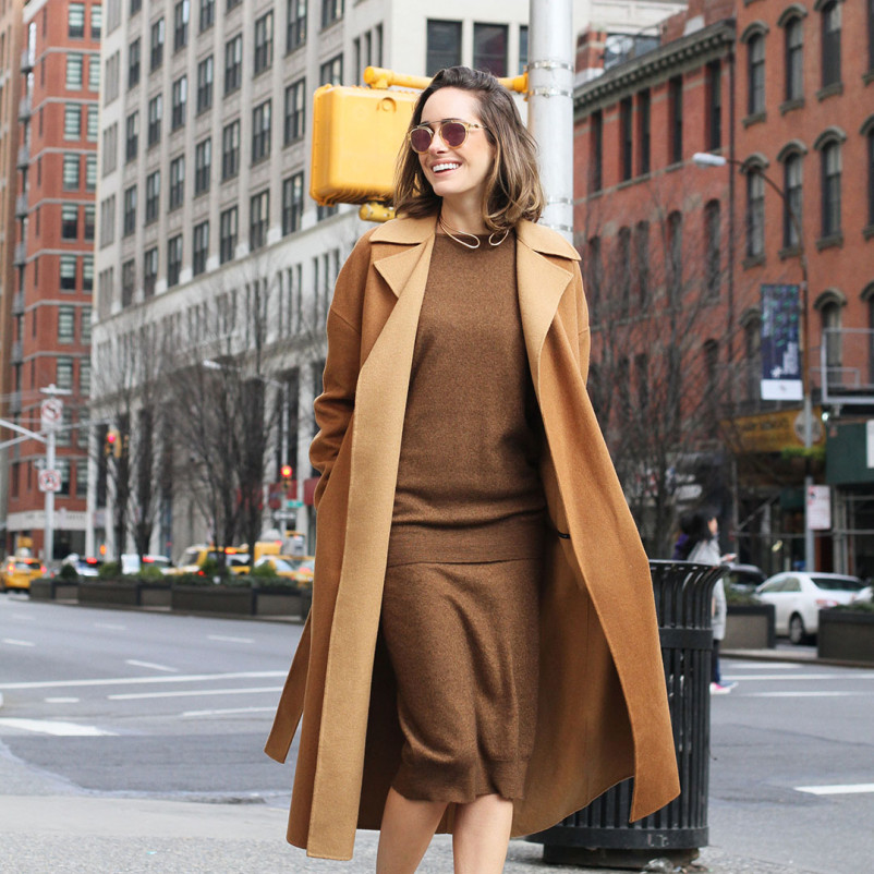 Louise Roe camel outfit
