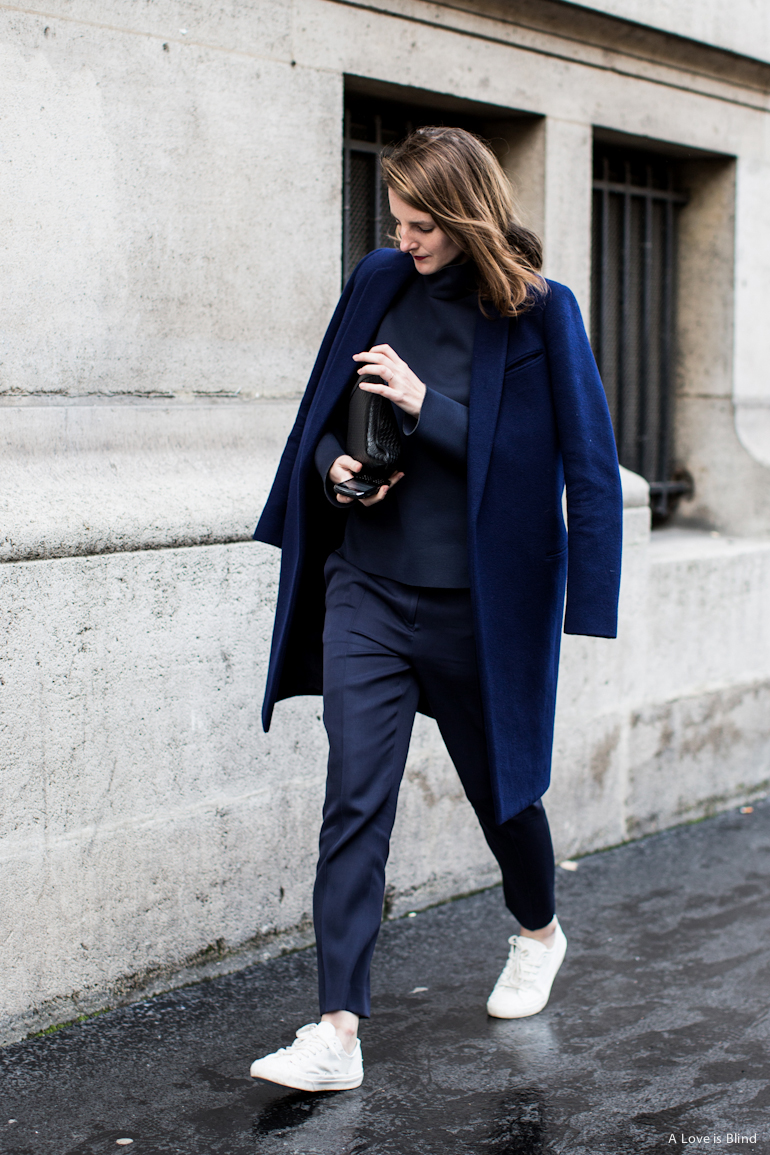 Paris Fashion Week suit and sneakers